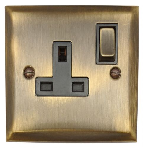 G&H SAB309 Spectrum Plate Antique Bronze 1 Gang Single 13A Switched Plug Socket